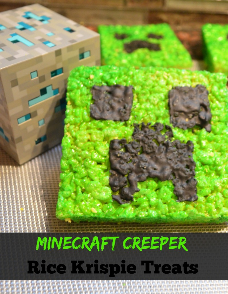 Minecraft Creeper Rice Krispie Treats 1