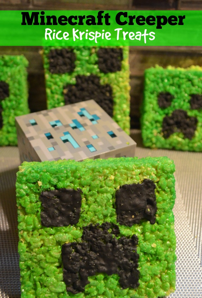Mint Minecraft Rice Krispie Treats