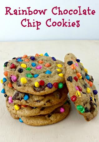 Rainbow Chocolate Chip Cookies #Recipe