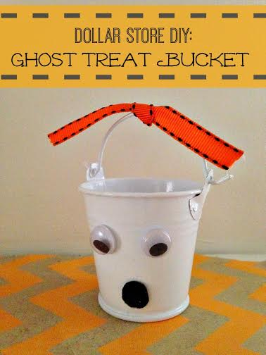 Dollar Store DIY Halloween Ghost Treat Bucket