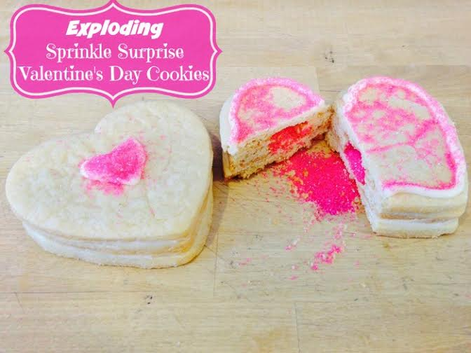 Exploding Sprinkle Surprise Valentine's Day Cookies
