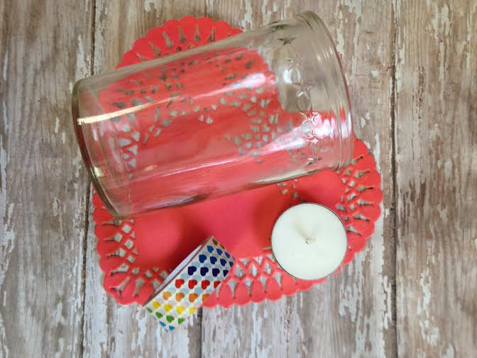 Valentine's Day Washi Tape Votive Holder