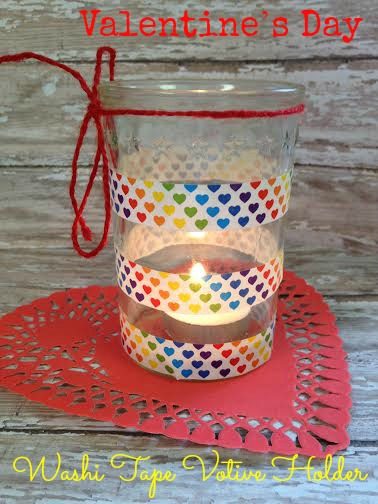 Valentine's Day Washi Tape Votive HolderDIY