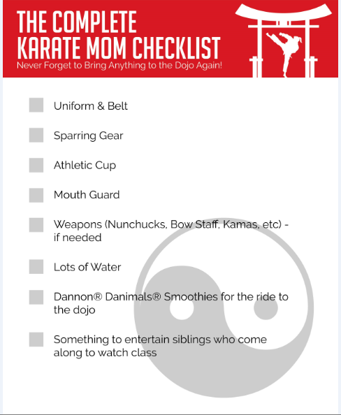 Complete Karate Mom Checklist
