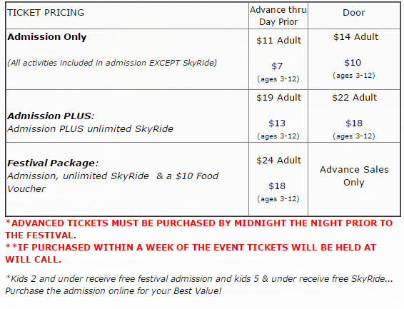 KidsFest Pricing