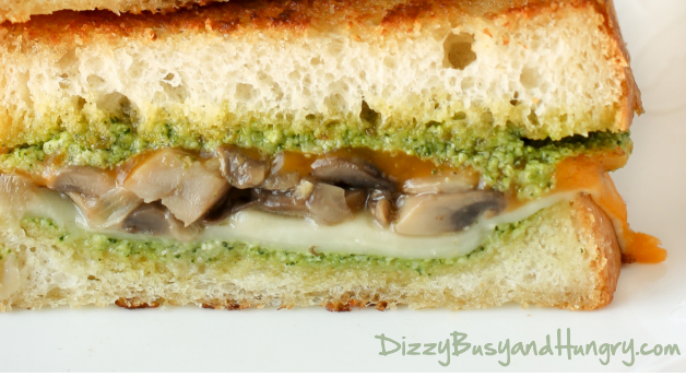 Broccoli Pesto Mushroom Grilled Cheese