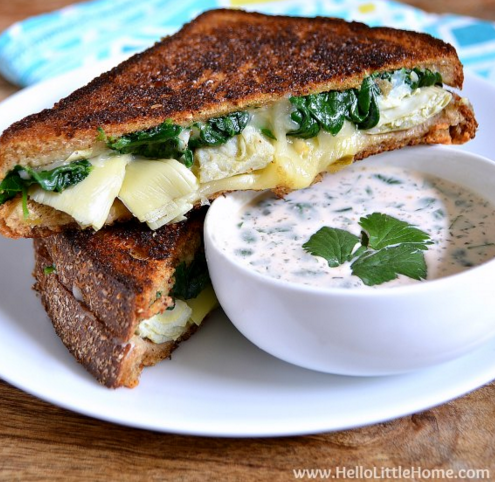 Spinach and Artichoke Grilled Cheese with Spicy Ranch Dipping Sauce