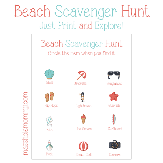 beach scavenger hunt printable