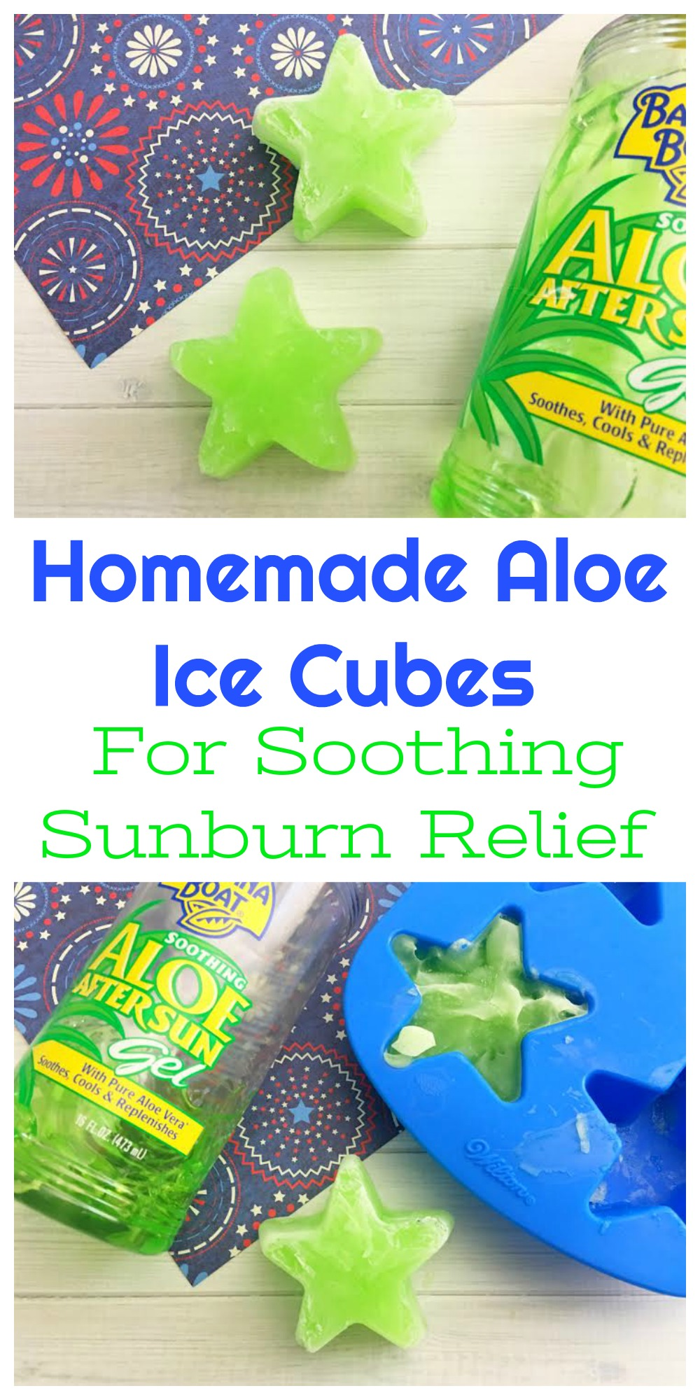 Sometimes even if you have SPF 150 sunblock on, you still end up with a sunburn. If that happens, these aloe ice cubes will help soothe it.