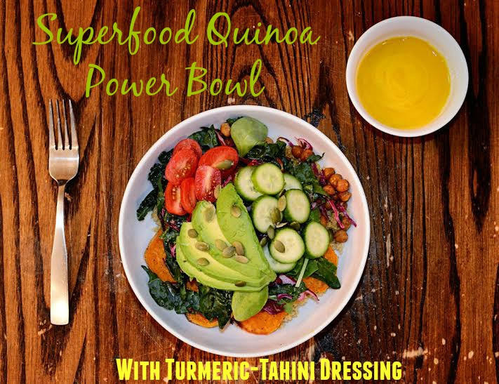 Superfood Quinoa Power Bowl with Turmeric-Tahini Dressing Recipe