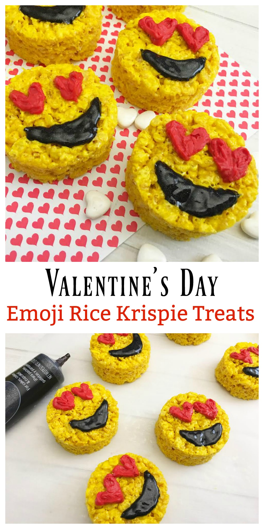 If you are looking for a fun Valentine's Day treat that's easy to make, try these Valentine's Day Emoji Rice Krispie Treats!