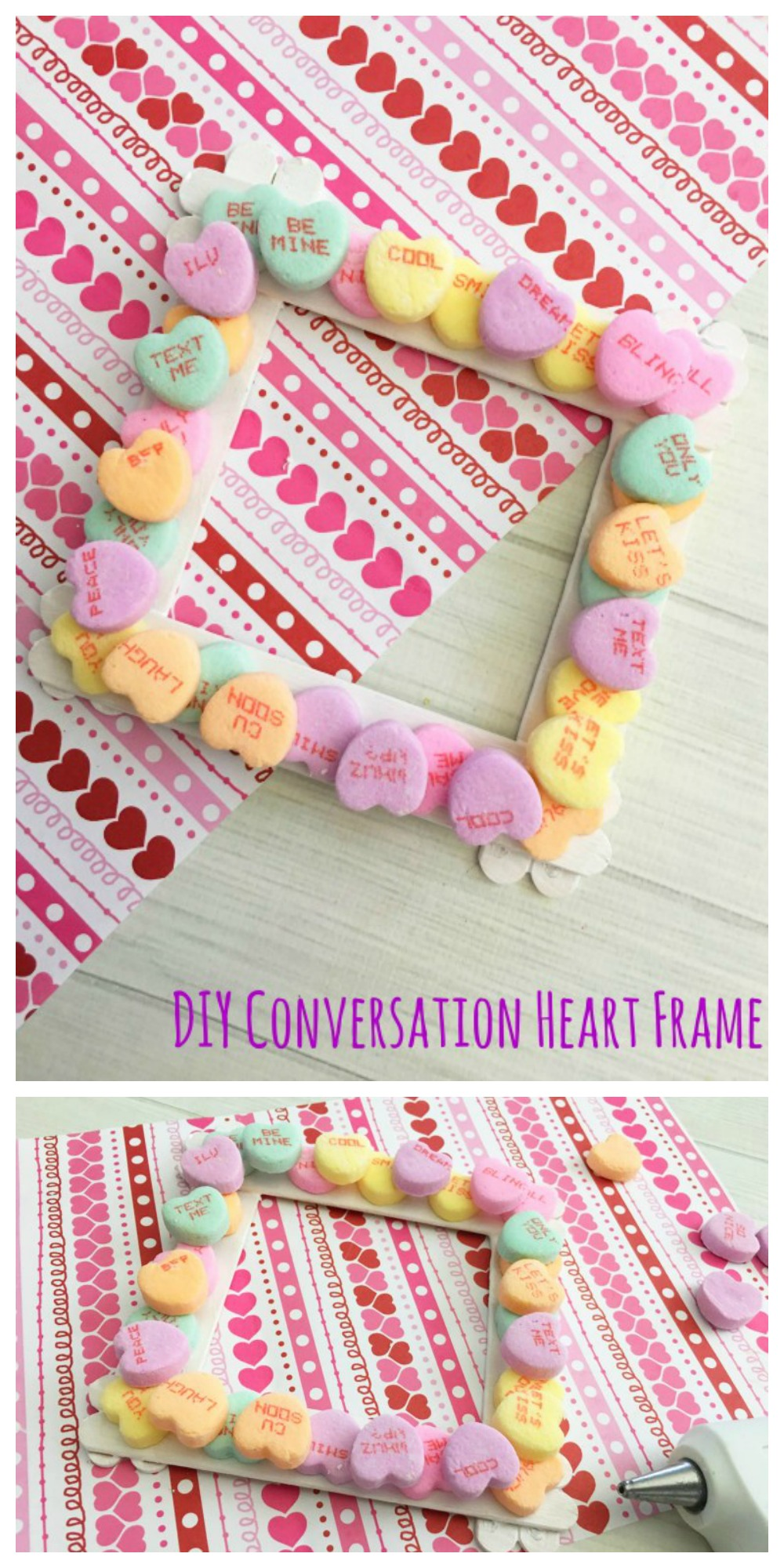 This DIY Conversation Heart Frame is an awesome way to decorate your home or work-space for Valentine's Day! It's easy to make and it's super cute, too!