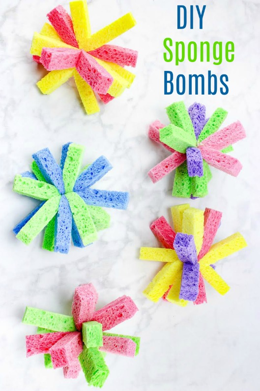 Homemade Sponge Bombs are a great way to cool off on a hot summer day!