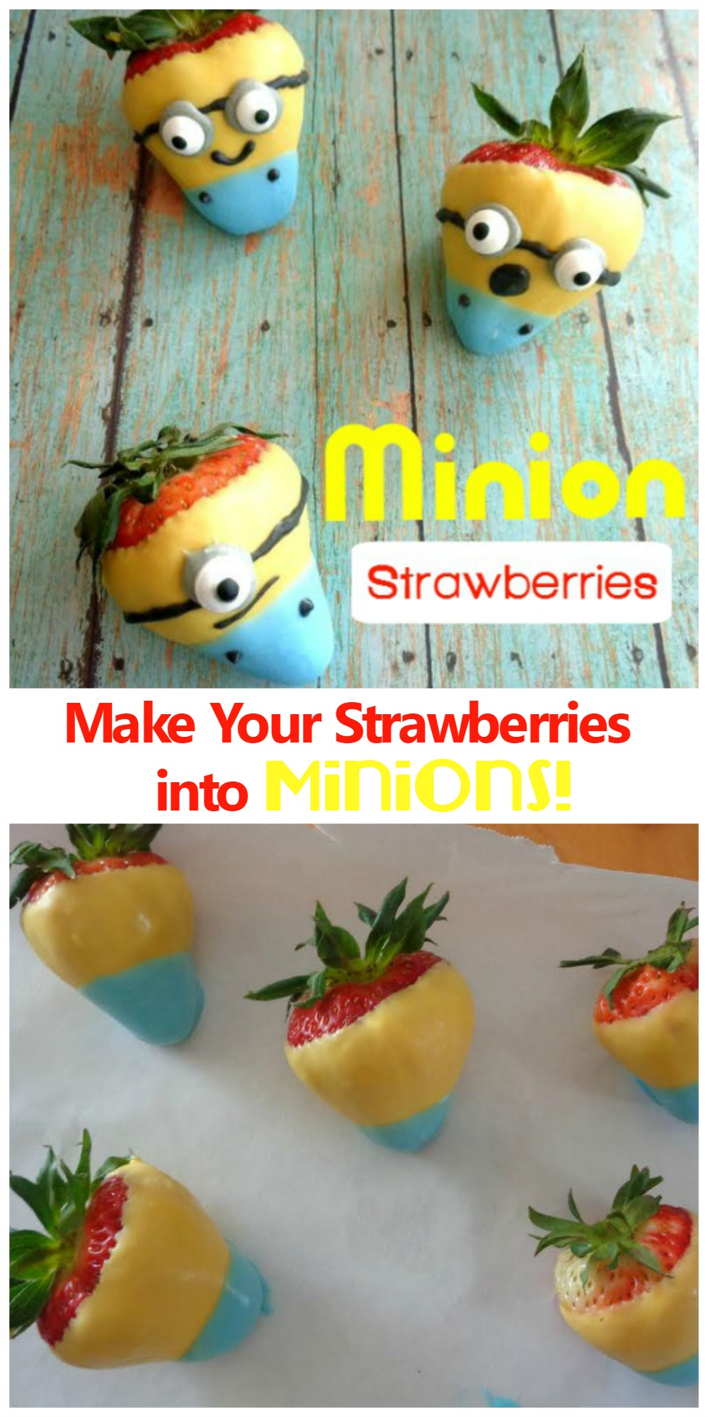 Easy Minions Snack made from melted chocolate and strawberries!