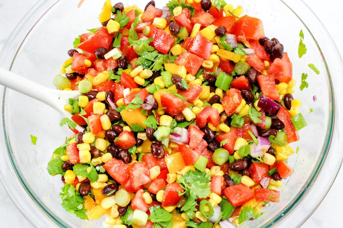 vegetable salsa, corn, tomatoes, onions, beans
