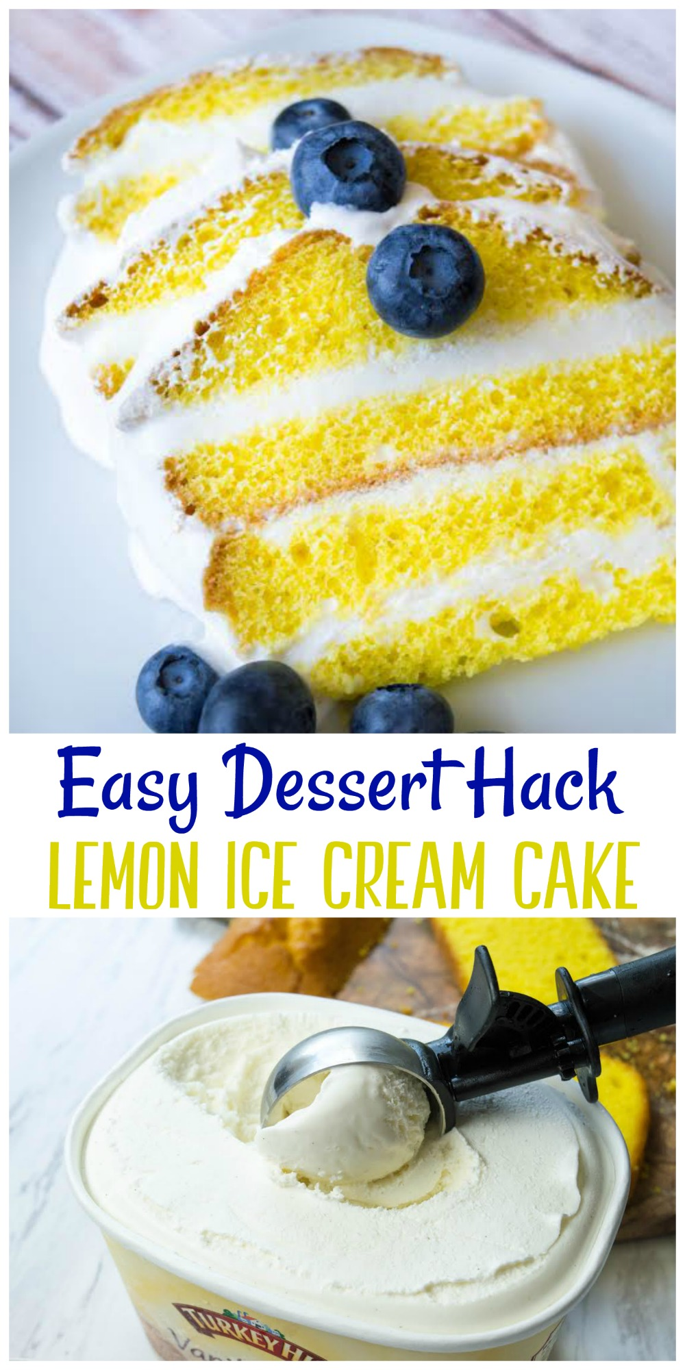 This Lemon Ice Cream Cake is an easy dessert hack that people will love! It's easy to make and will be a sure fire hit at your next get-together!