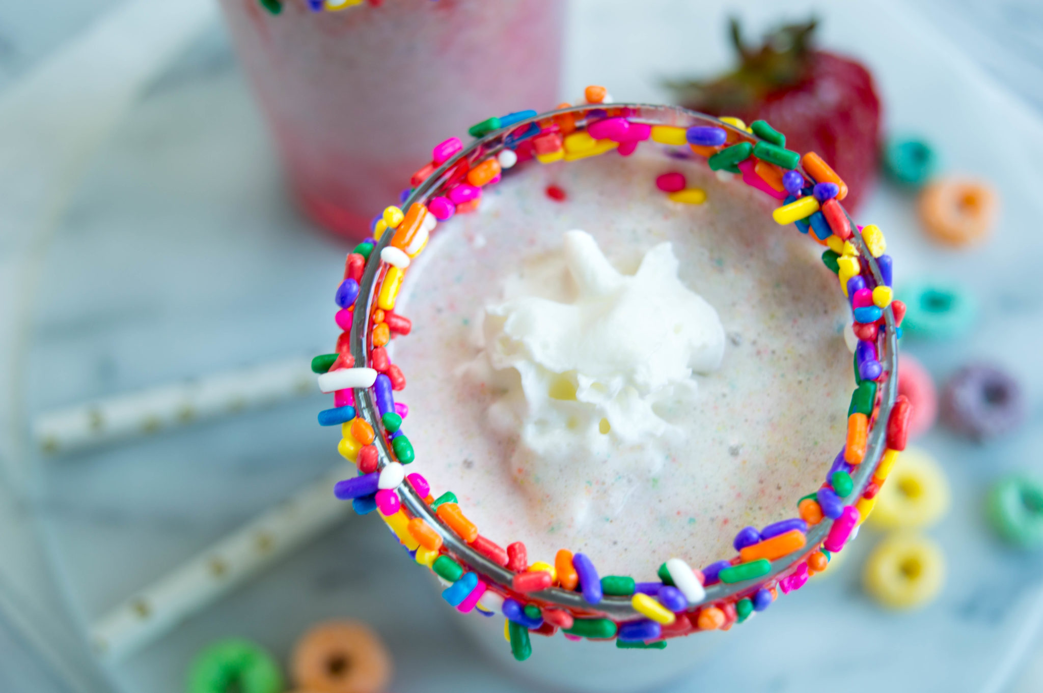 This easy to make Froot Loops Milkshake is seriously the Bee's Knees! Using only three ingredients, it's super yummy and will be ready in just minutes.