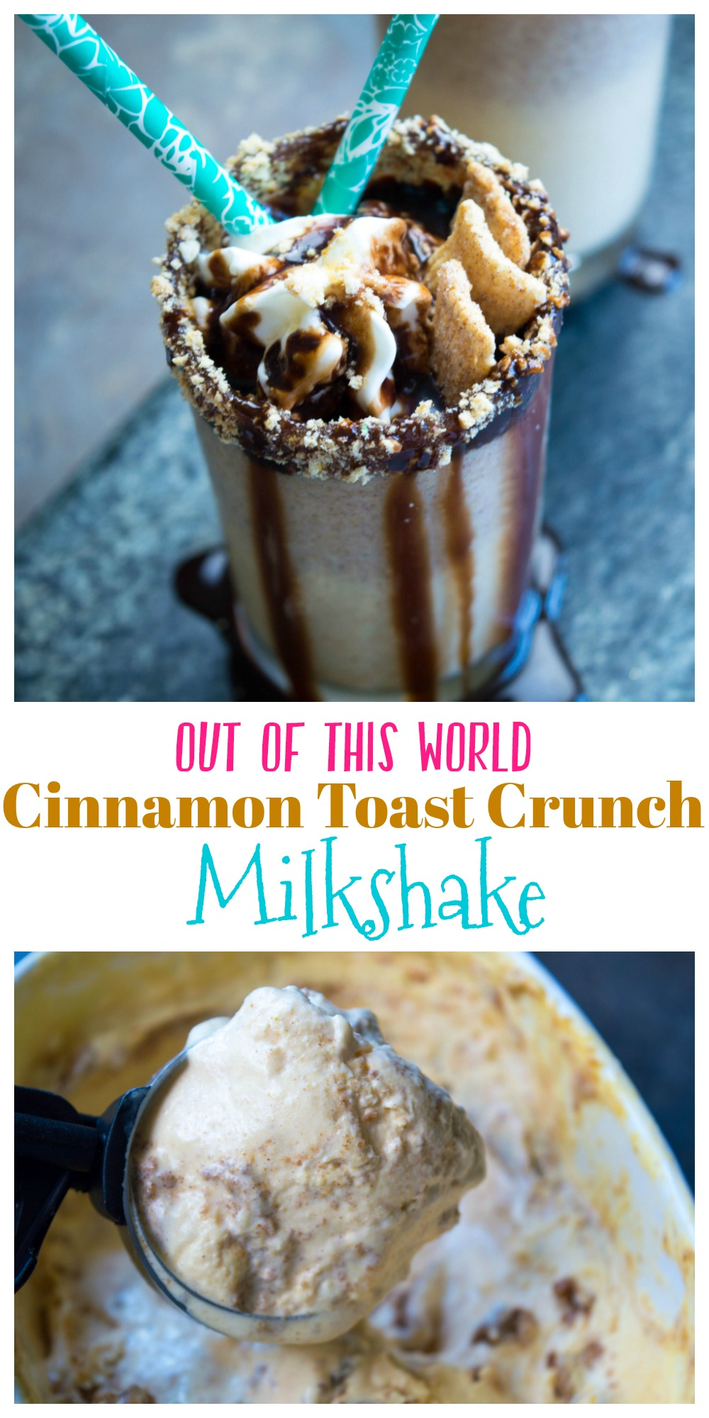 This delicious Cinnamon Toast Crunch Milkshake will rock your world! Only 3 ingredients are needed and your milkshake is ready in minutes!