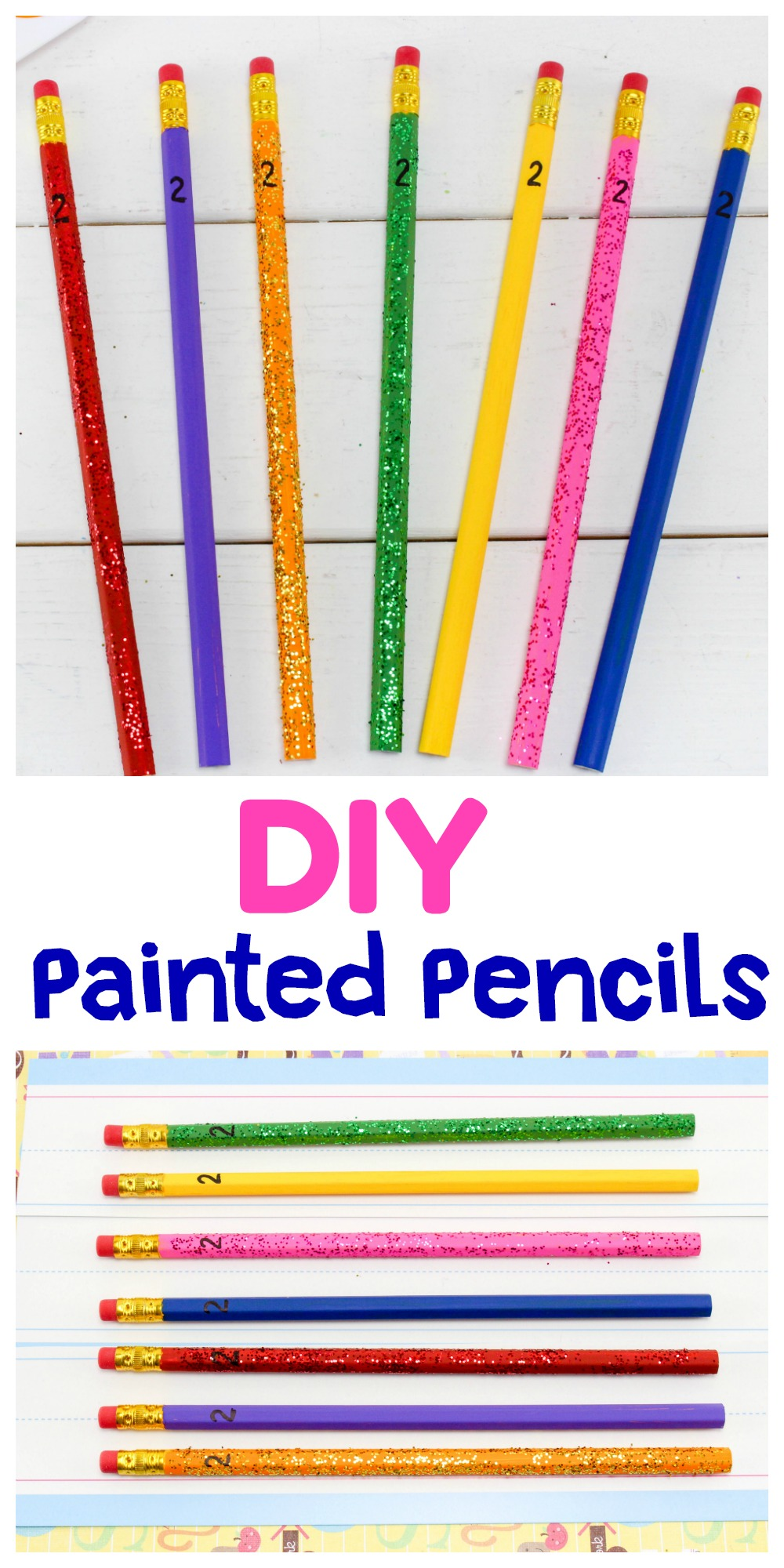 Yellow pencils are boring aren't they? Check out these cute DIY Painted Pencils. It's super easy to glam them up and send them to school with the kids!