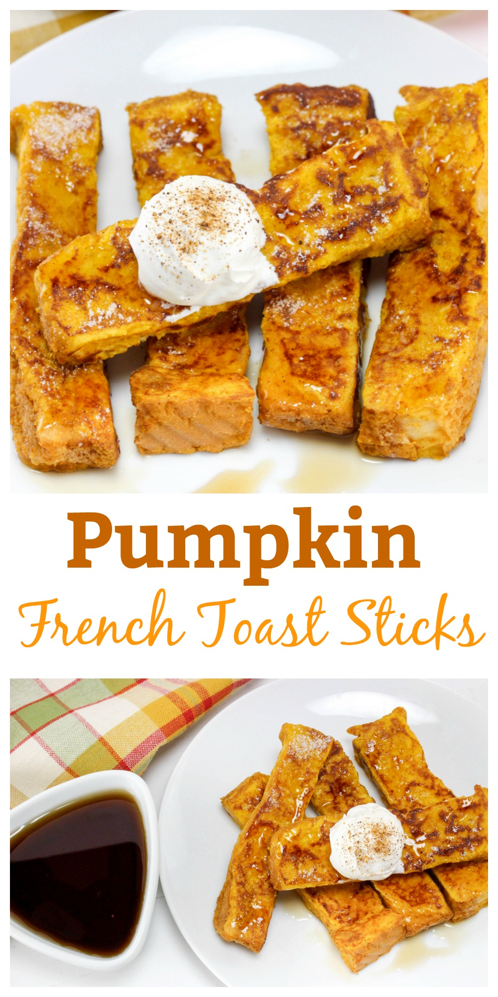 Make pumpkin lovers happy with these Pumpkin French Toast Sticks. This Recipe is perfect for breakfast (or anytime) this fall!