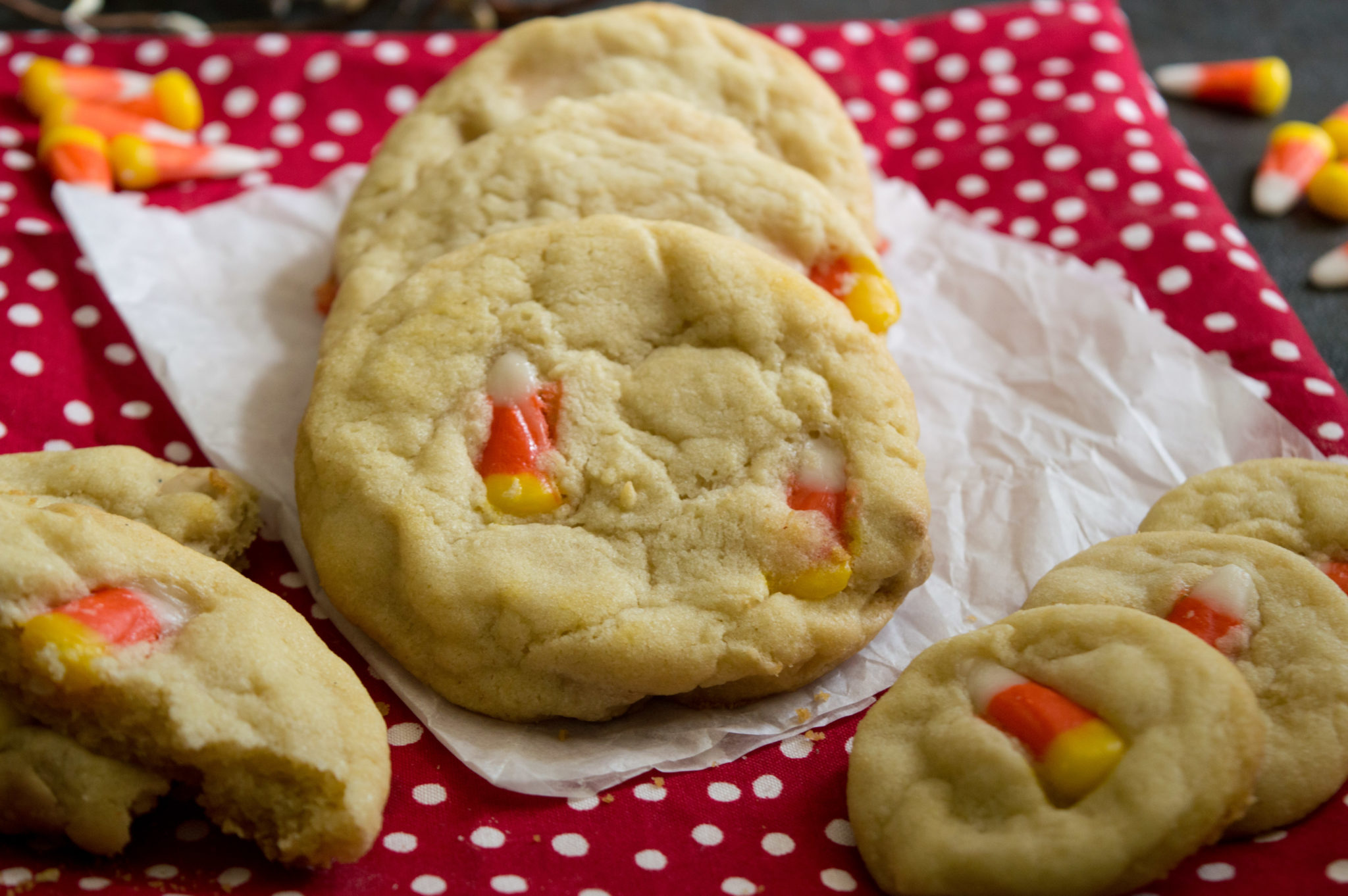 These Candy Corn Sugar Cookies are a delicious fall treat! They are easy to make and with the candy corn, they are festive for the fall season.