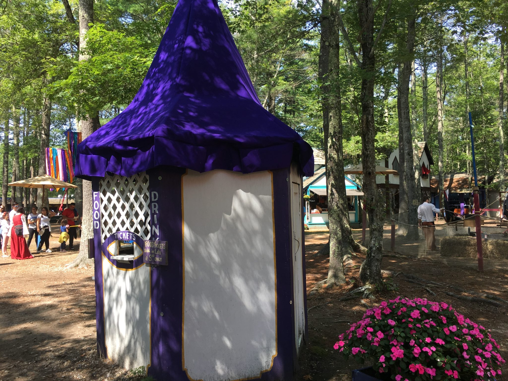 Purchase your food and beverage tickets at booths just like this at King Richard's Faire!