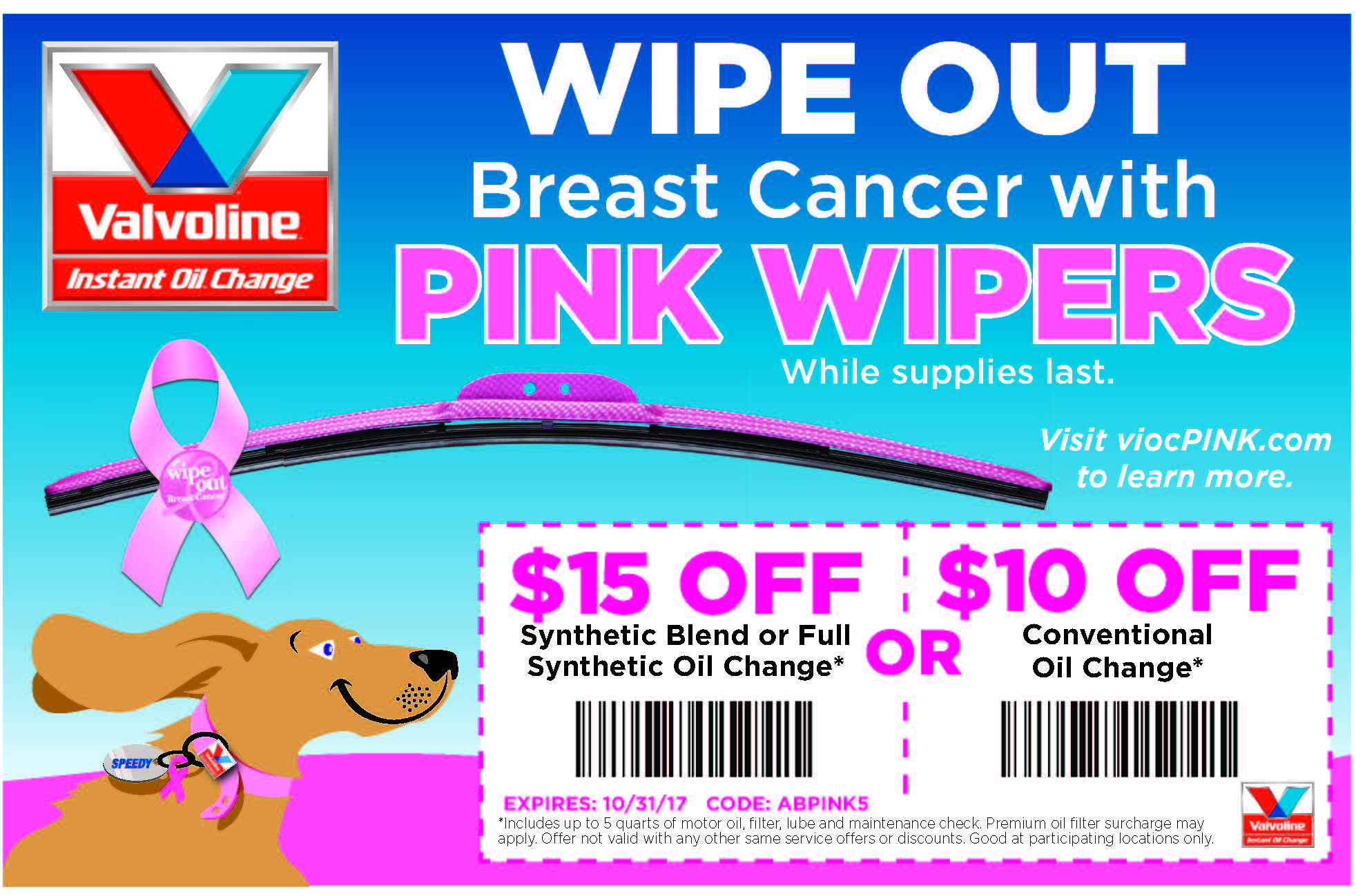 Let's help end breast cancer. This October Visit Valvoline Instant Oil Change and Get Your Pink Wipers to Help #WipeOutBreastCancer