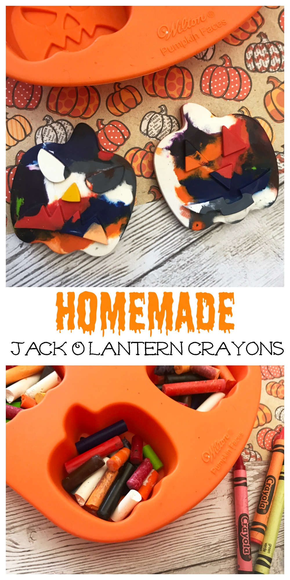 Create Halloween masterpieces with these Homemade Jack O'Lantern Crayons! They are super easy to make and the kids will love them.