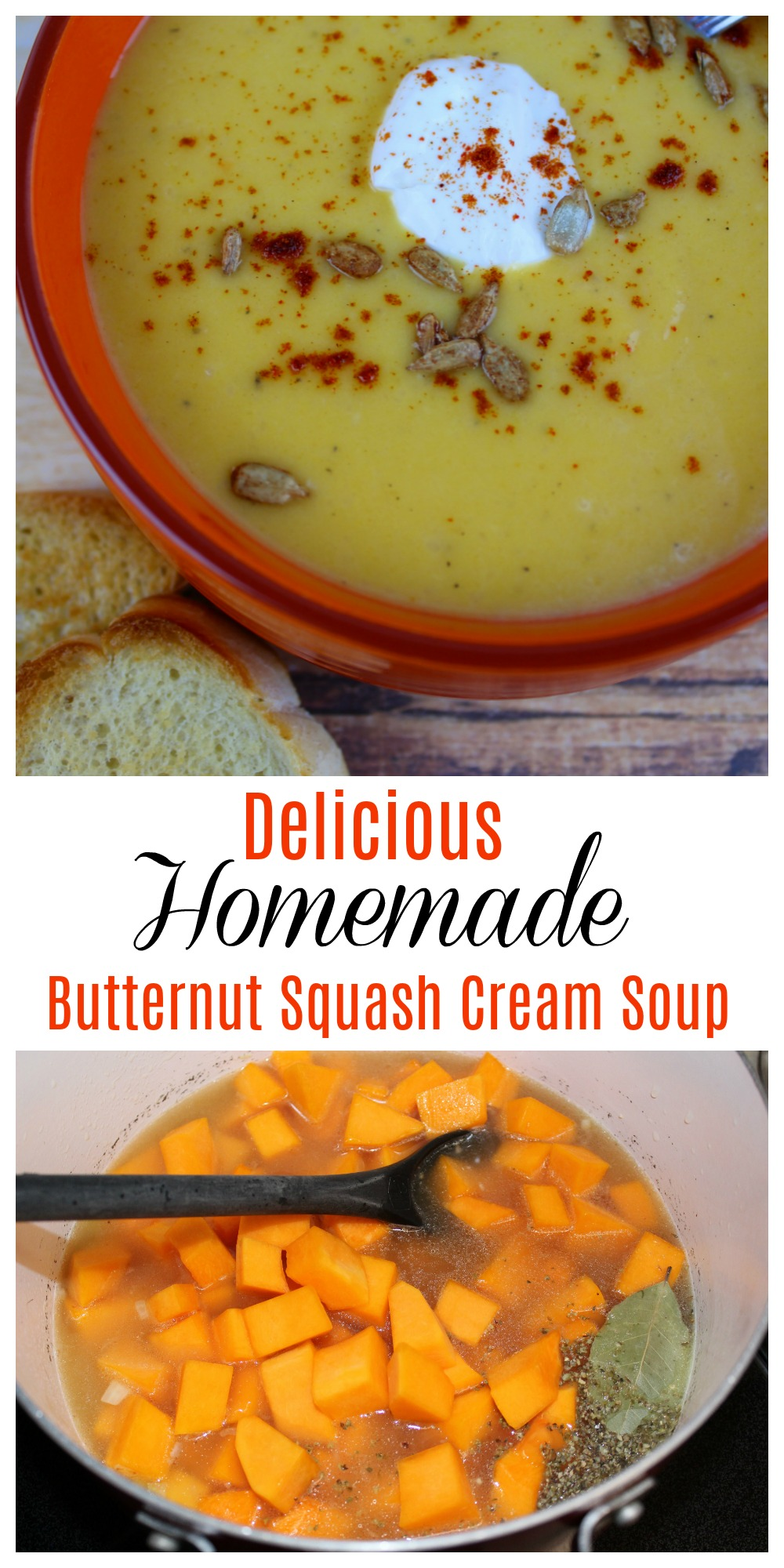 This Homemade Butternut Squash Cream Soup is a perfect fall soup recipe. It's hearty and will keep you warm on a chilly winter day.