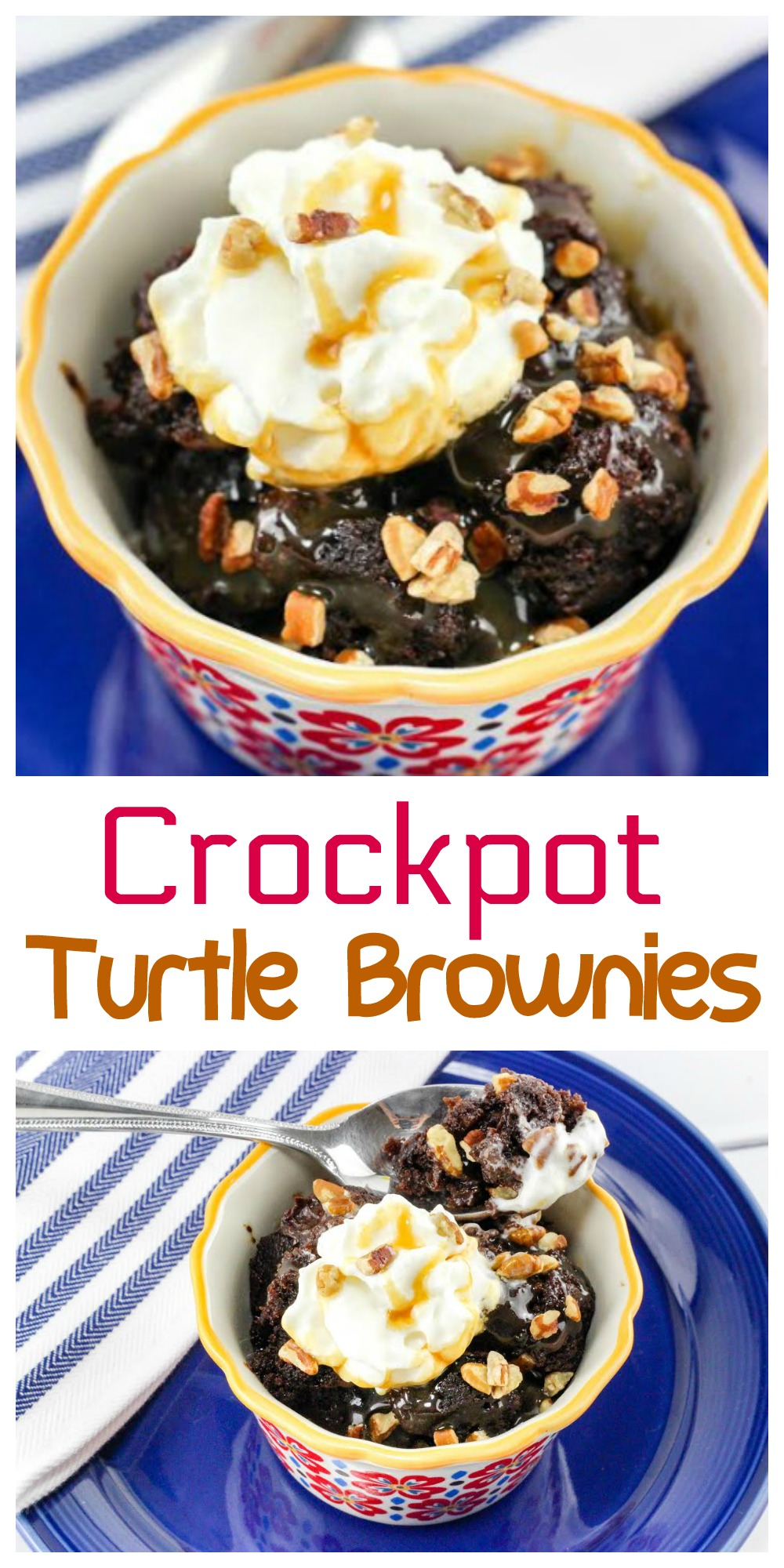Looking for an easy dessert idea? Try these Crockpot Turtle Brownies. This recipe is really easy to make and the brownies come out all gooey and delicious.