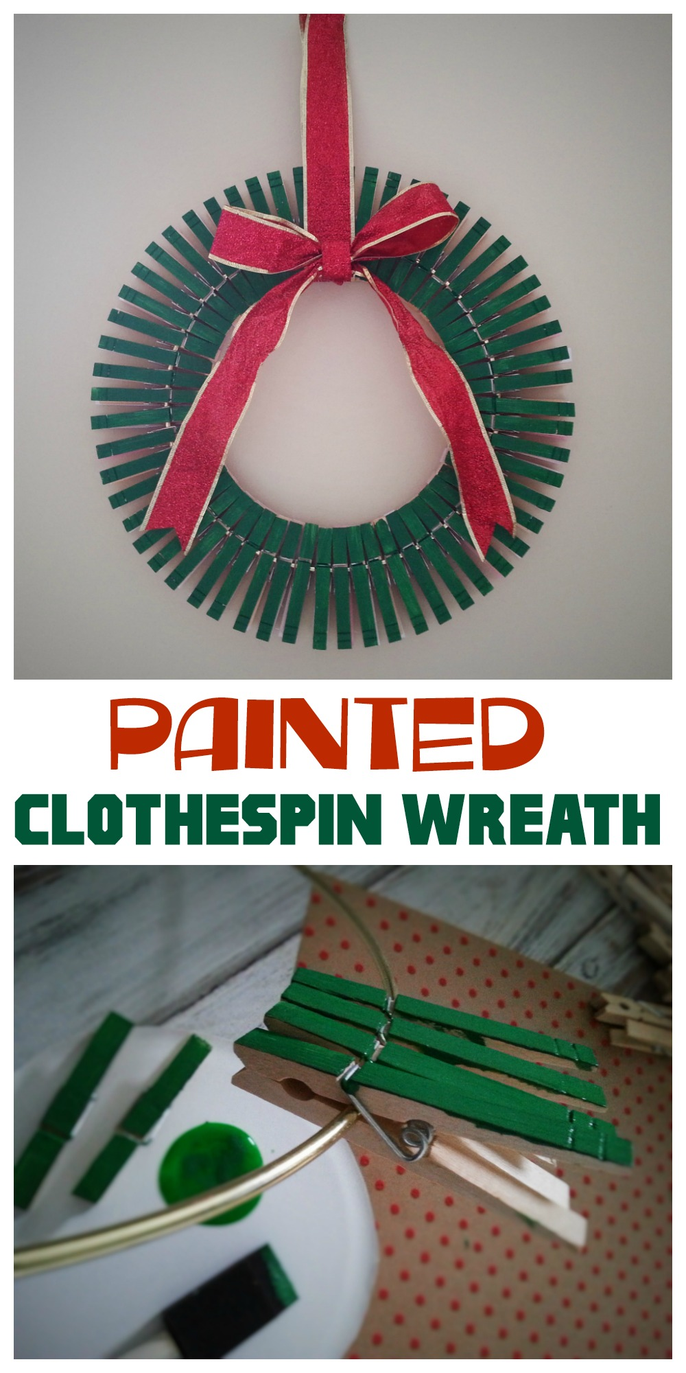 If you are looking for a festive DIY Christmas decoration, try making a Painted Clothespin Wreath! It's easy to make, doesn't cost much & seriously cute.