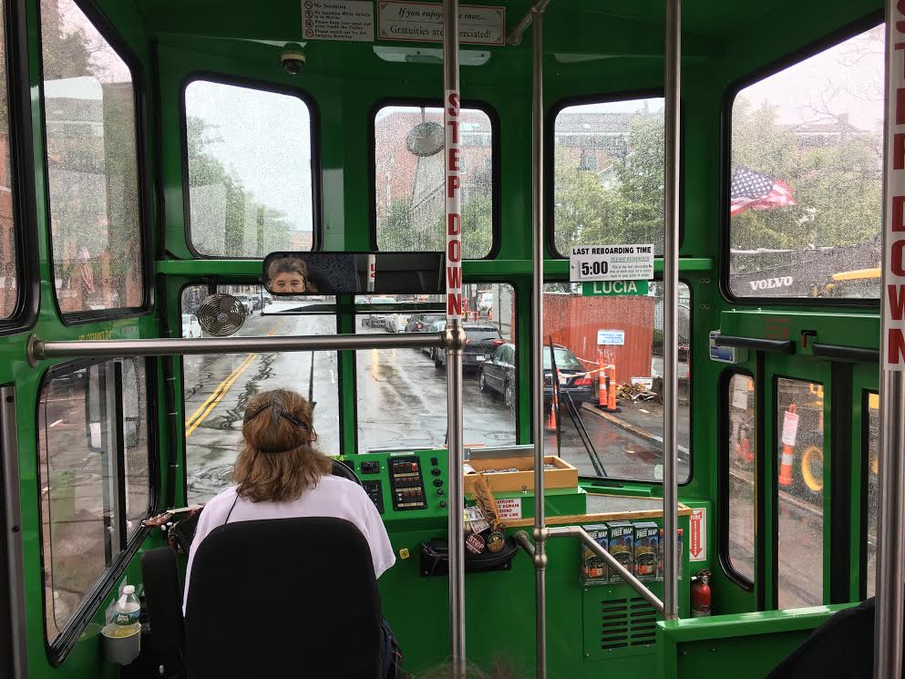 Play tourist in Boston by riding the hop on and hop off trolley to all the sights.