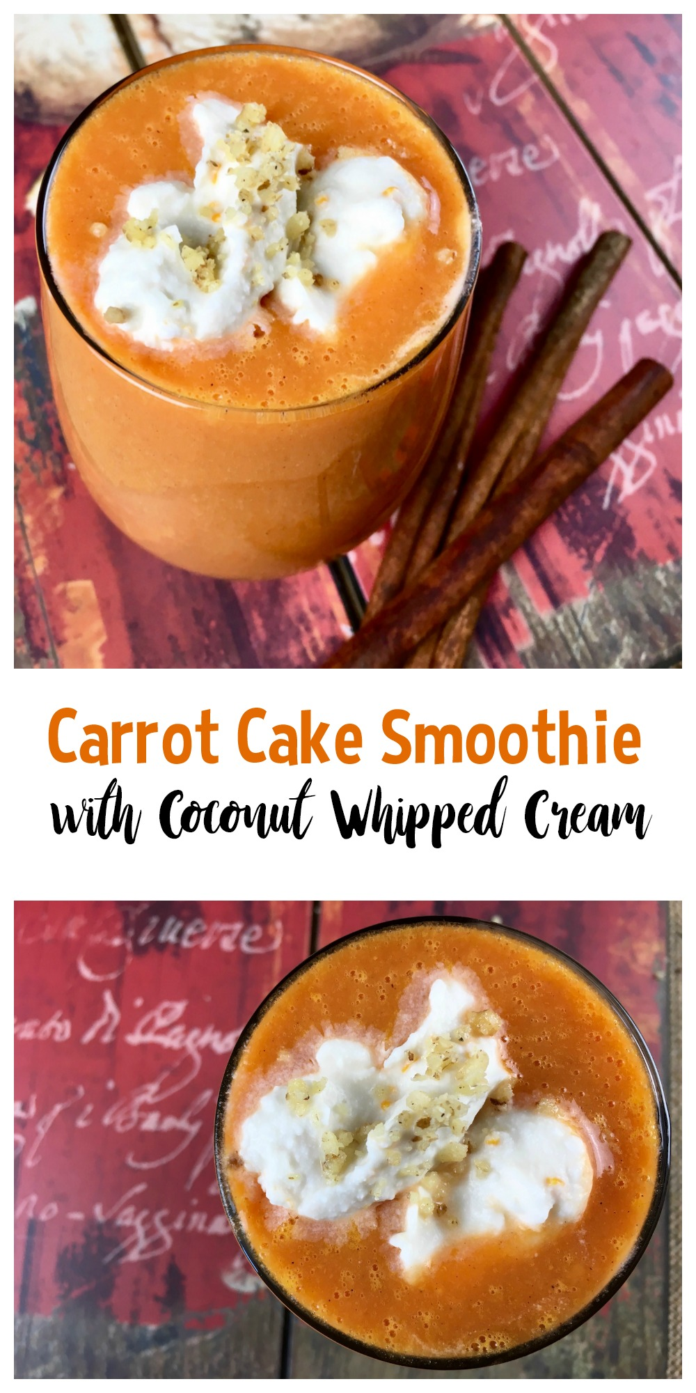 This delicious carrot cake smoothie tastes more like a decadent dessert than a nutritious way to start the day. And take my word for it, the Coconut Whipped Cream makes it!