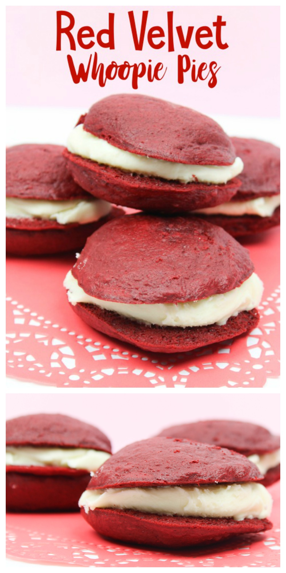 Impress Your Friends with these Red Velvet Whoopie Pies! A box of cake mix, some flour and a tub of frosting are the only things you need to make this delicious recipe!
