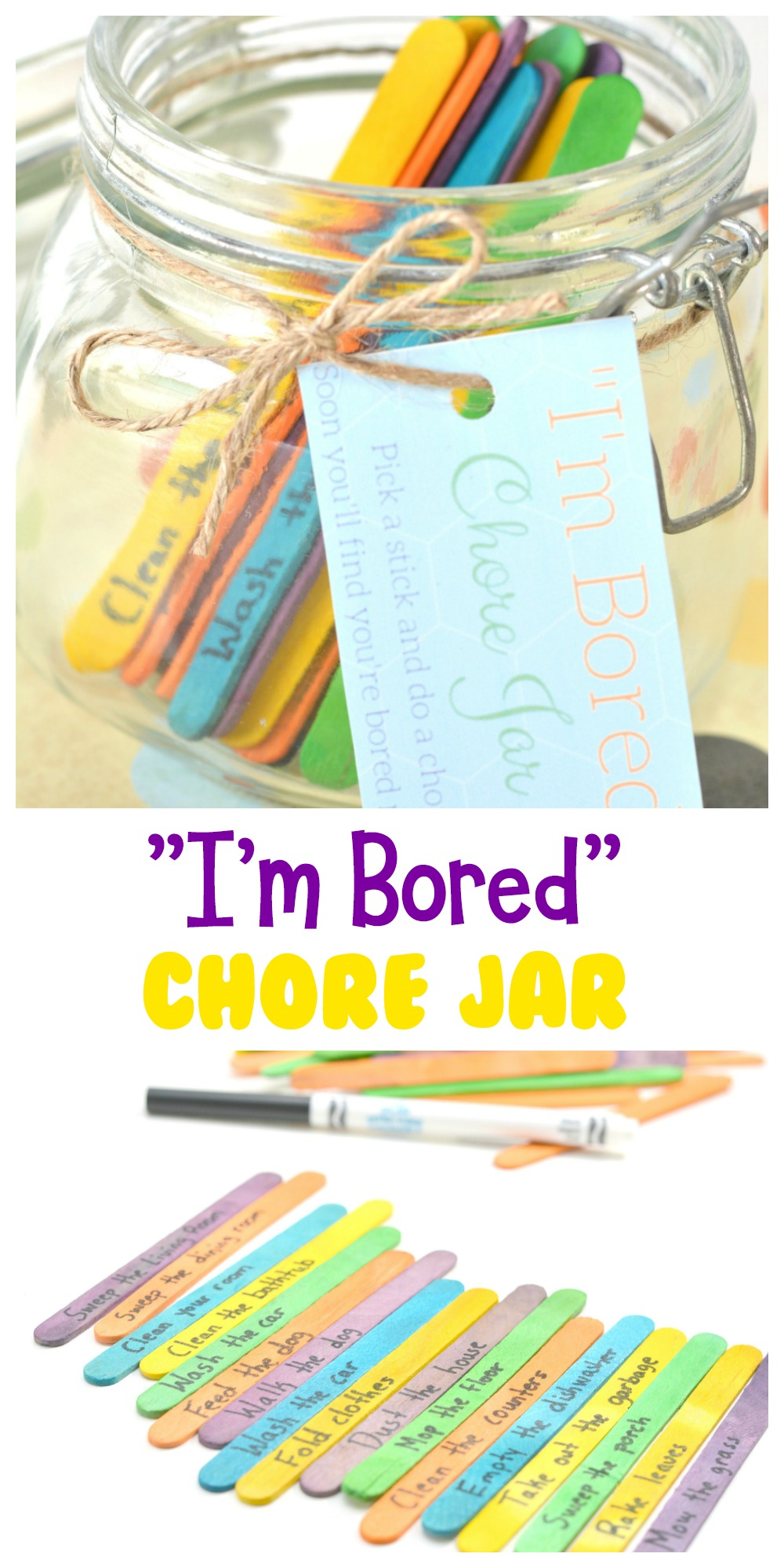 "If you hear ""I'm bored"" A LOT, make an ""I'm Bored"" Chore Jar so that every time your kids say it, you can give them something to do! Believe me, it works and it's super easy to make."