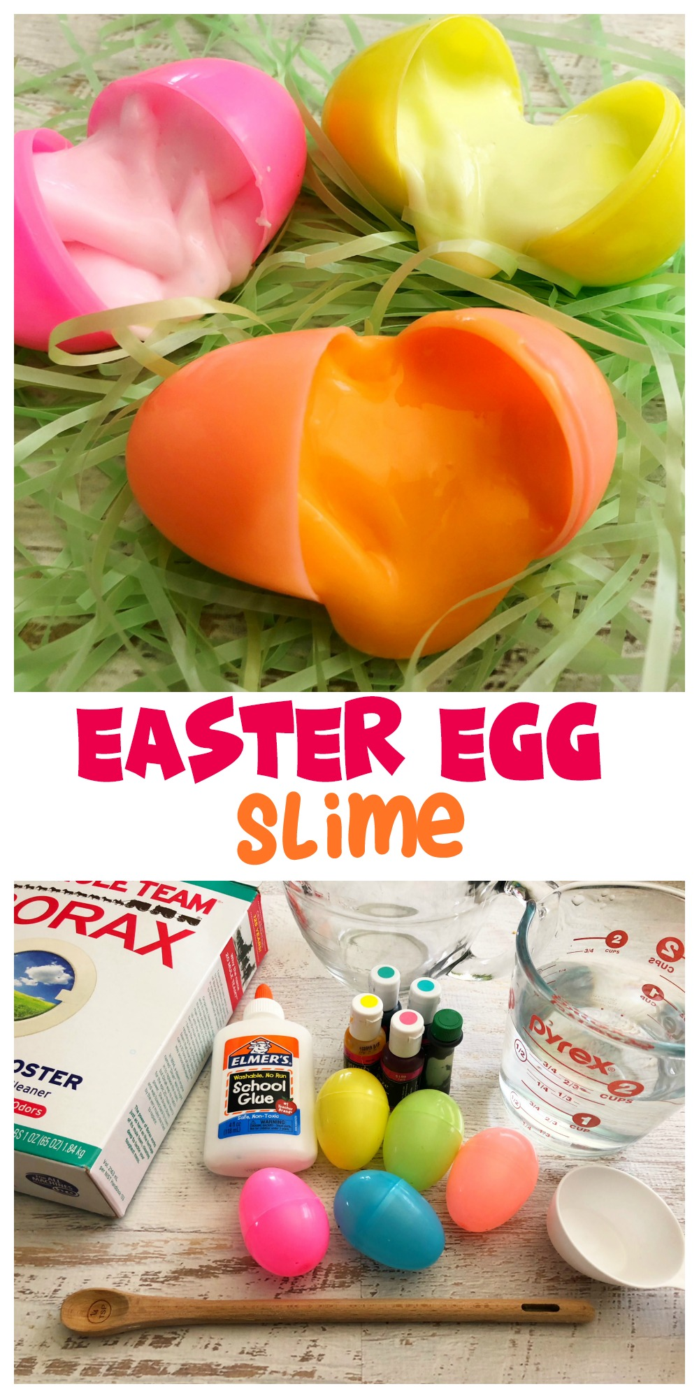 This easy Easter Egg Slime recipe is good for hours of sensory fun! Make as many colors as you like and have a blast mixing & matching.