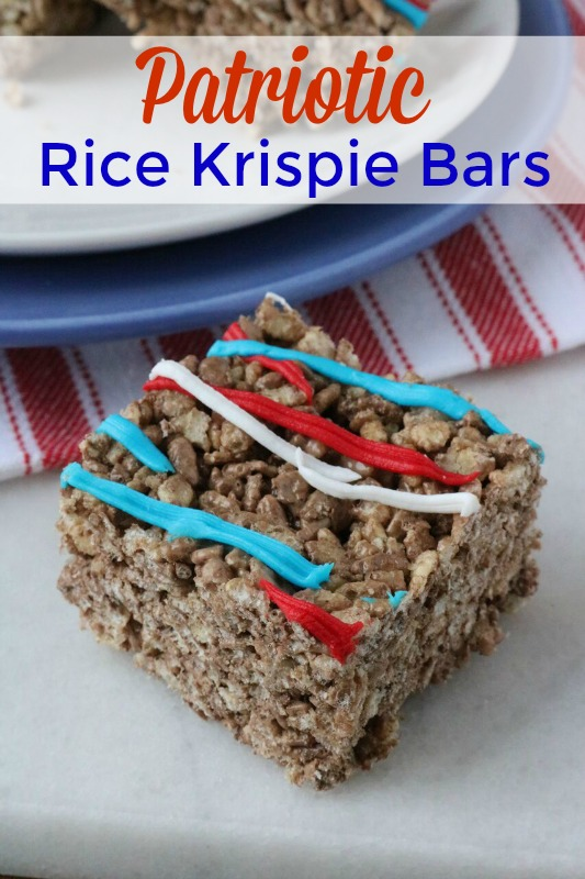 If you are looking for a quick and easy dessert for your 4th of July cookout, these Patriotic Cocoa Krispie Bars are exactly what you're looking for.