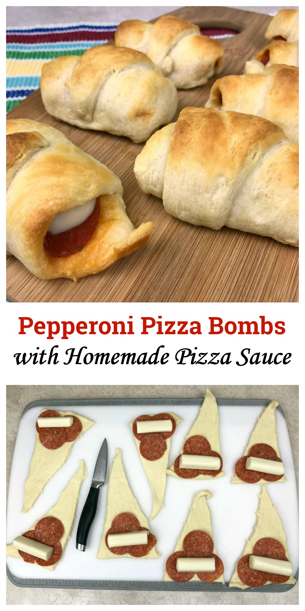 These pepperoni pizza bombs with homemade pizza sauce are a quick and easy snack that you can whip up in minutes. This fun recipe is sure to be a big hit with your family!