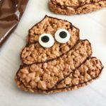 Obsessed with the poop emoji? If your hand is raised, these Poop Emoji Rice Krispie Treats are a fun & easy snack idea for you to whip up for the kids.