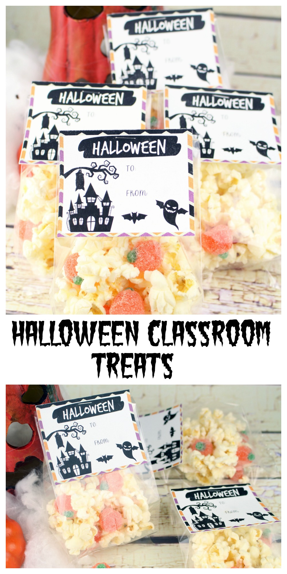 If you want to get creative with your kids school Halloween celebration, these easy Halloween Classroom treats (with free printable) are perfect for you!