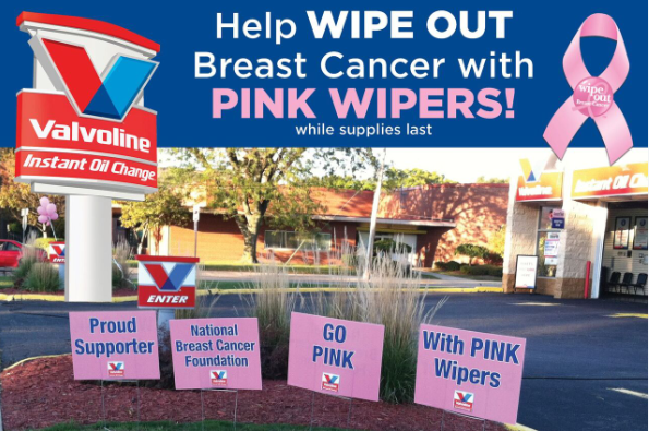 Be sure to stop by your local Valvoline Instant Oil Change this October and get Pink Wipers to help wipe out Breast Cancer once and for all!