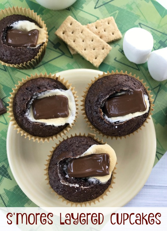 For a fun fun twist on a classic dessert, try this s'mores layered cupcakes recipe! Just as delicious, but without the sticky mess of regular s'mores.