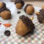 These Donut Hole Acorns area fun fall snack idea. They are an incredibly easy treat to make and are lots of fun to gobble up!