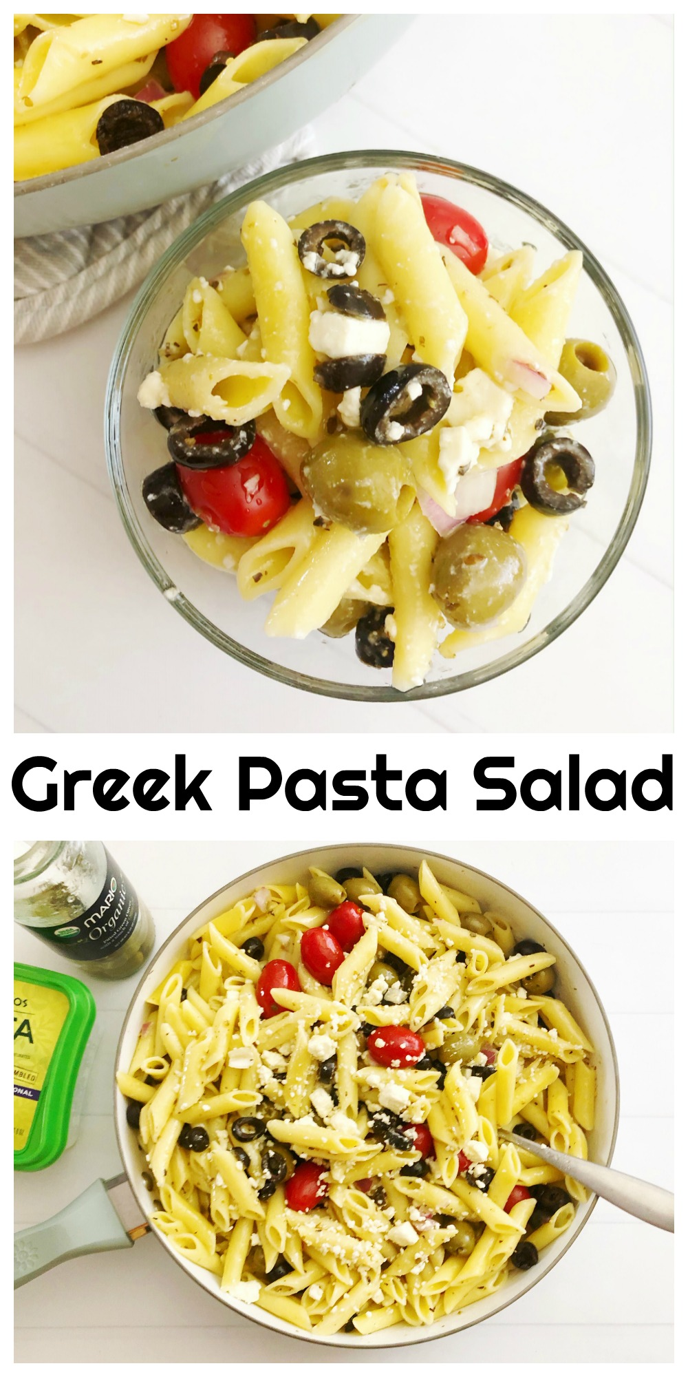 This Greek Pasta Salad recipe will be the hit of your summer cookouts this year. It's delicious, light and makes the perfect BBQ side dish!