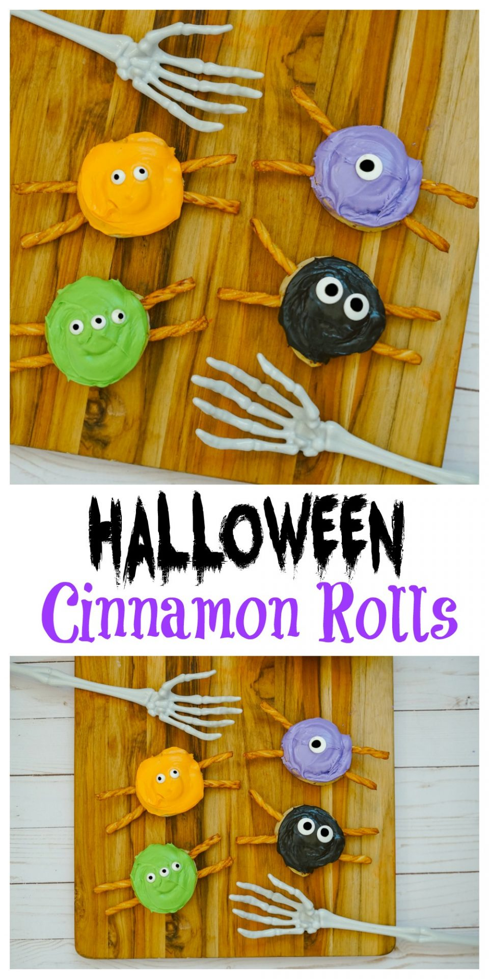 These Halloween Cinnamon Rolls are an easy & fun Halloween Snack! This recipe is so easy to make and your family will love this Halloween themed dessert.