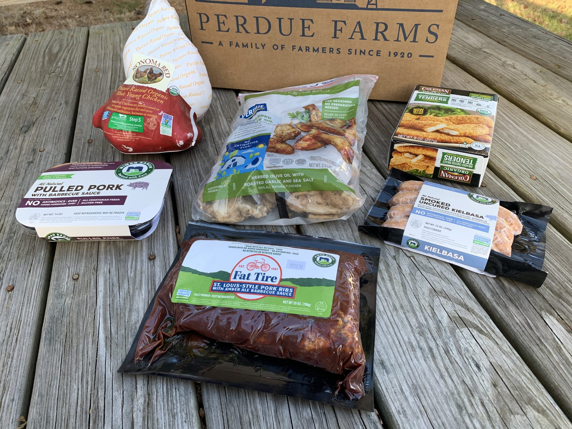 Try a pulled pork and coleslaw sandwich made from Niman Ranch pulled pork, which is one of thee things included in the Gatherings box from Perdue Farms.