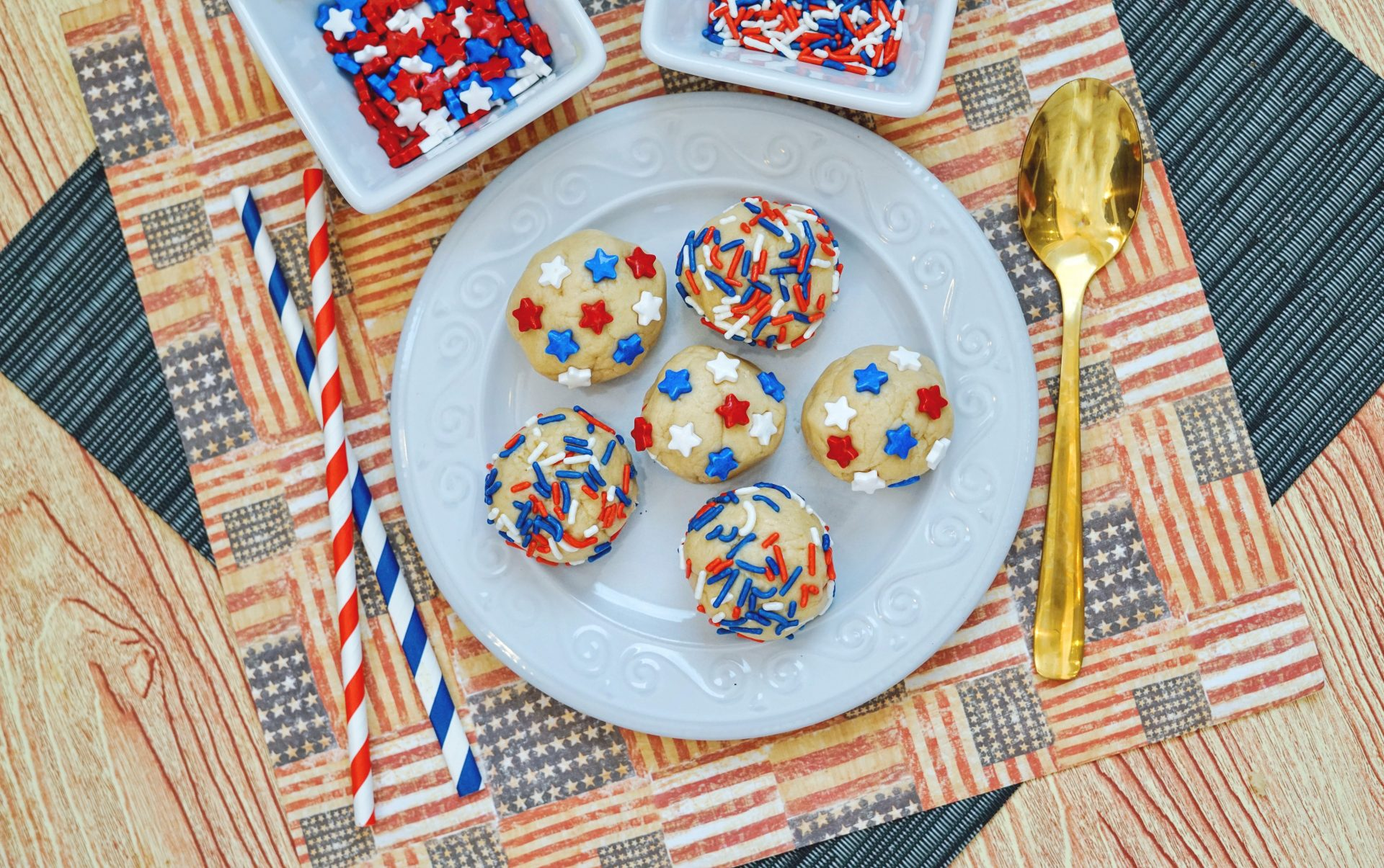 This Patriotic Edible Sugar Cookie Dough  is a super easy recipe to whip up and snack on anytime - not just for the 4th of July.